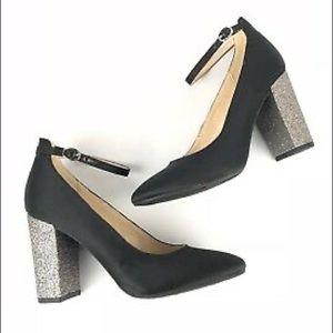 Marc Fisher Samy Black Silver Glitter Block Heels
